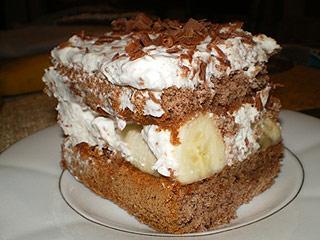 Ciasto przekładane czekoladowo-bananowe